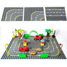 цена City Traffic Track Plate Big Building Blocks Board Vehicle Accessories DIY Assembly Car Toys Children Gift Compatible Duplo Set