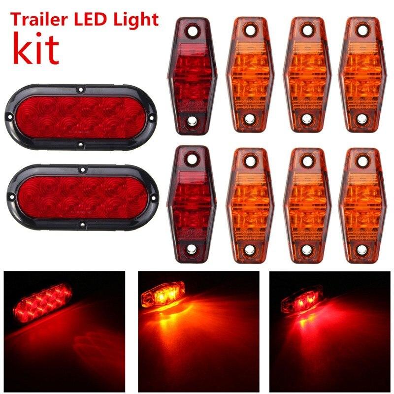 10pcs/lot Waterproof IP65 Amber/Red Truck Trailer LED Light kit Mount Brake Turn Tail Side Marker Screws DC12V yamaha led trailer light kit