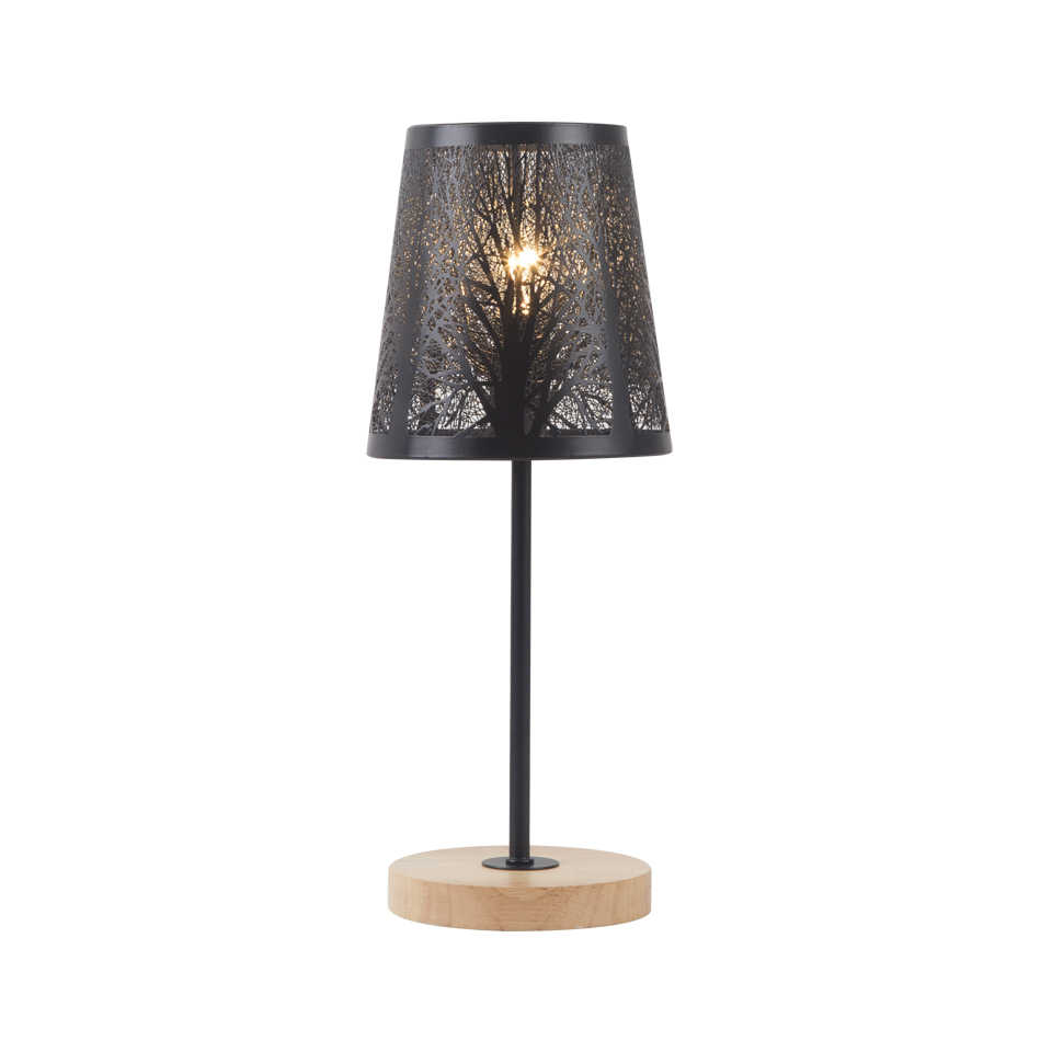 Retro Wrought Iron Lamp Shade And Wood lampholder Table Lamp Eye Protection Desk Light For Bedside Study Room Living Room