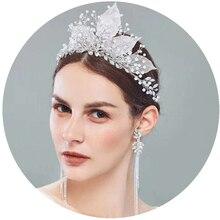 YouLaPan HP212 wedding tiara for bride Wedding Headwear with crystal Bridal headpiece Wedding Hair Jewelry for girls alloy leaf