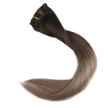 Полностью блестящие волосы remy на заколках с эффектом омбре на всю голову, 10 шт., волосы для наращивания на заколках цвета#2, выцветающие до 6 и 18
