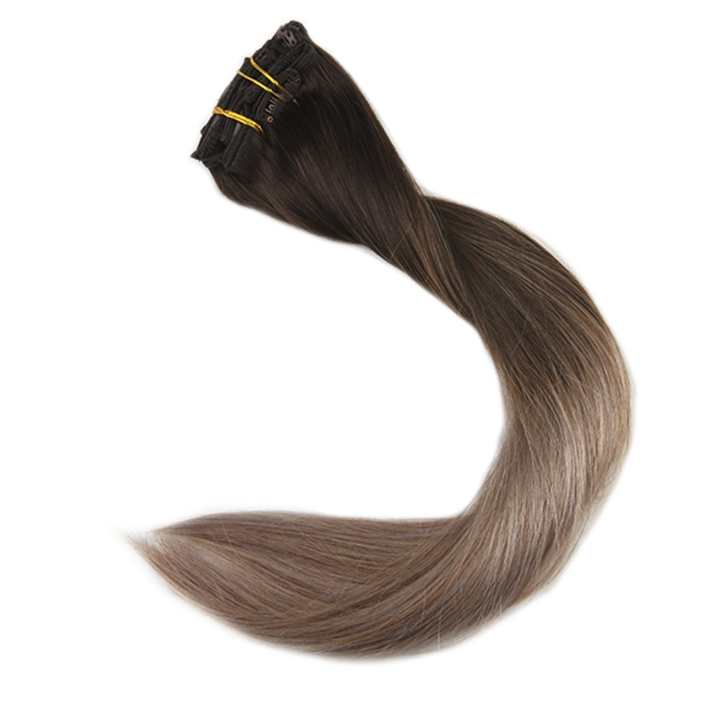 Full Shine Ombre Full Head Clip In Remy Human Hair Extensions 10Pcs Balayage Hair Extensions Clip In Color #2 Fading To 6 And 18