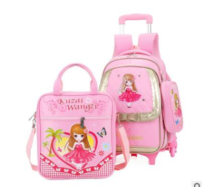 kids Rolling bags On wheels Children wheeled school backpack for girls kid School Trolley backpack Rolling Travel backpack bag
