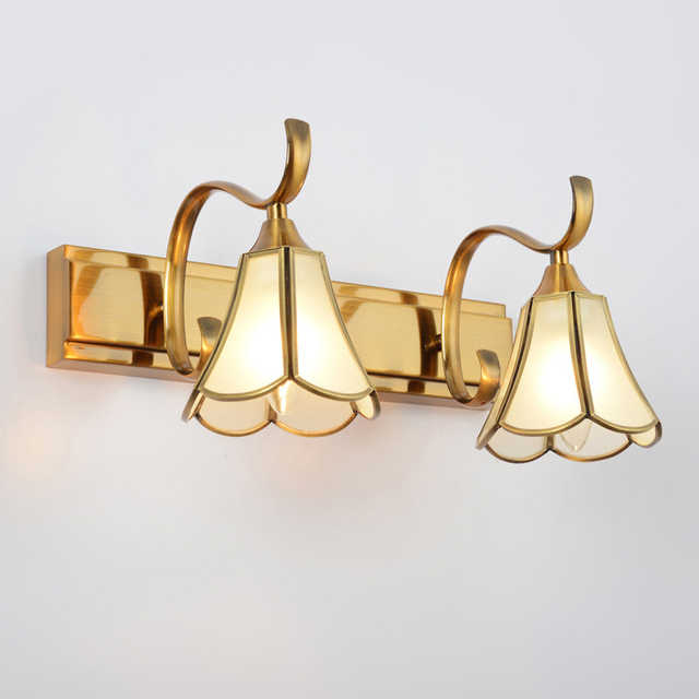 Vintage Brass Wall Light Art Deco Wall Sconces With Glass Shade - Bathroom wall sconce with shade