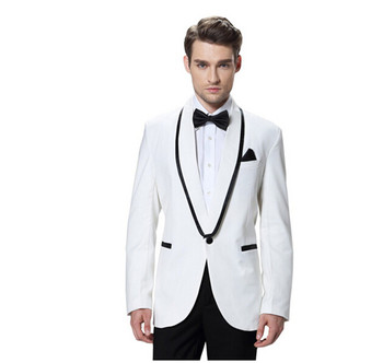 High-end custom Men's bussiness suits White three-piece Groom Wedding best man suit dancing party formal suits(jacket+pants+tie)