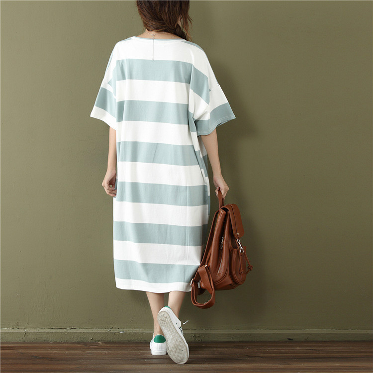 A15062 - 2019 Summer Casual Women Dress Loose Striped Cartoon Prin 1