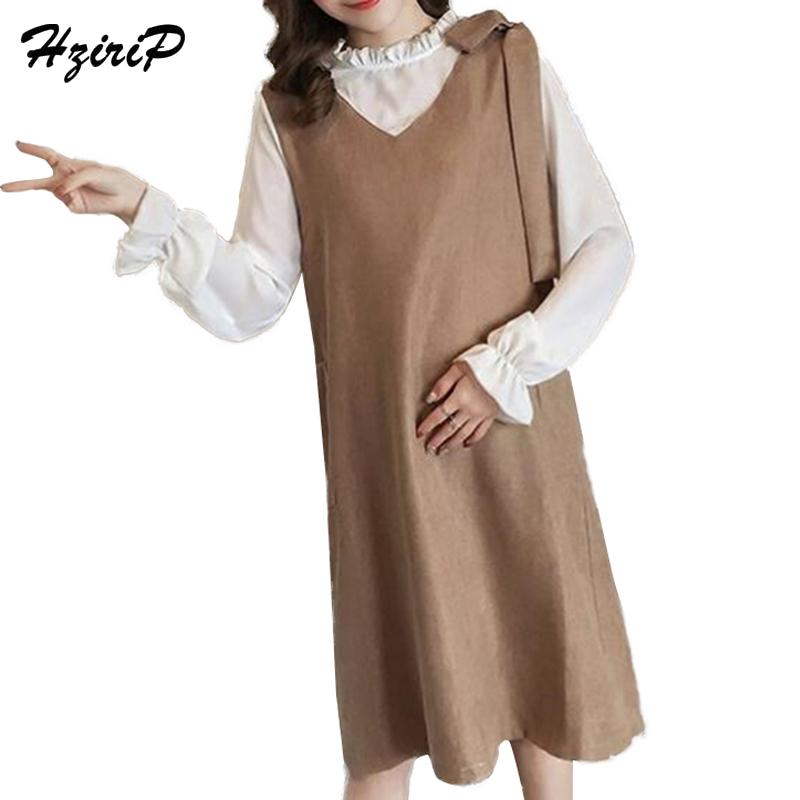 HziriP Pregnant Women Spring Casual Fake Two Corduroy Dress shirt Pregnant Plus Size Loose Maternity Dress With Long Sleeves