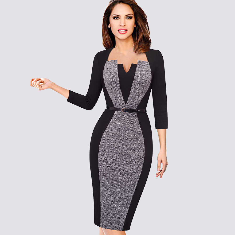 Womens Elegant Optische Illusie Patchwork Contrast Vintage Lente Herfst Gordel Werk Office Business Party Bodycon Jurk HB405