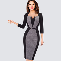 Womens Elegant Optical Illusion Patchwork Contrast Vintage Spring Autumn Belted Work Office Business Party Bodycon Dress