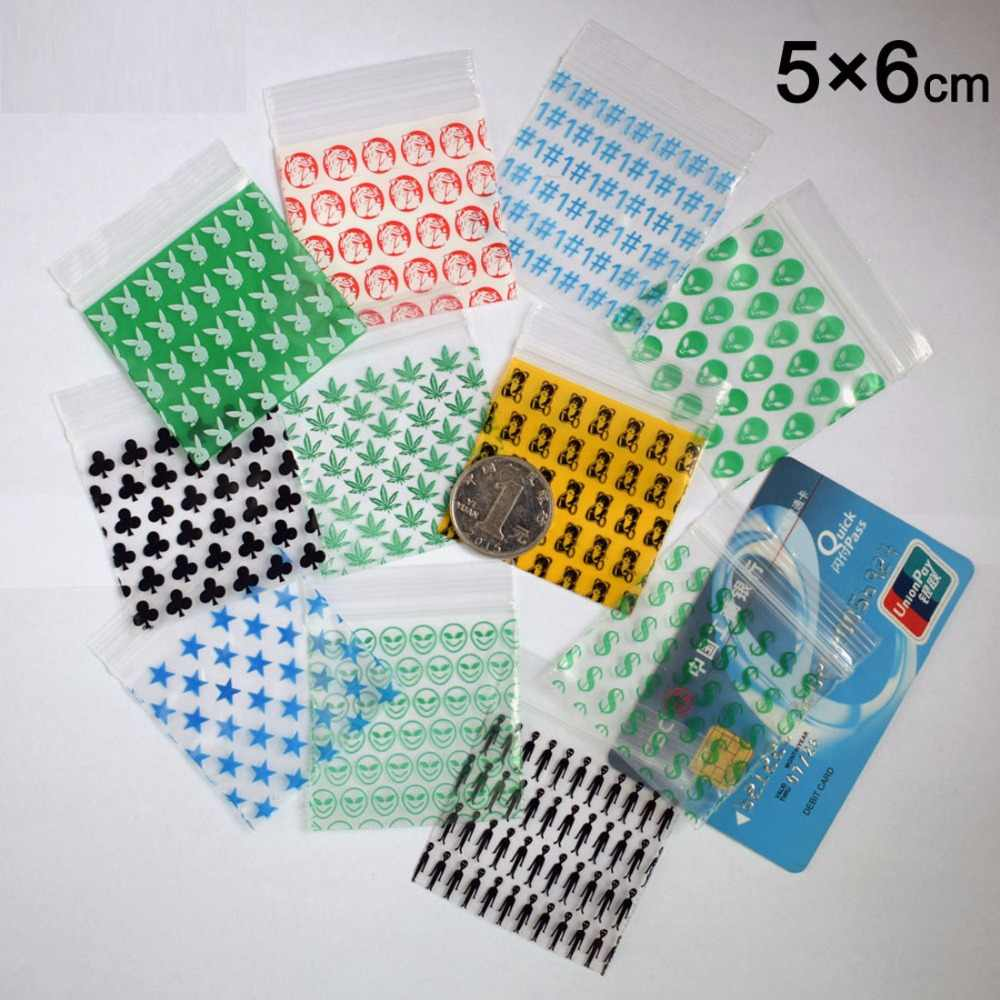 1000pcs Diffe Size Desgin Printing Small Self Sealing Zip Lock Bags Mini Ziplock Jewelry Pouches