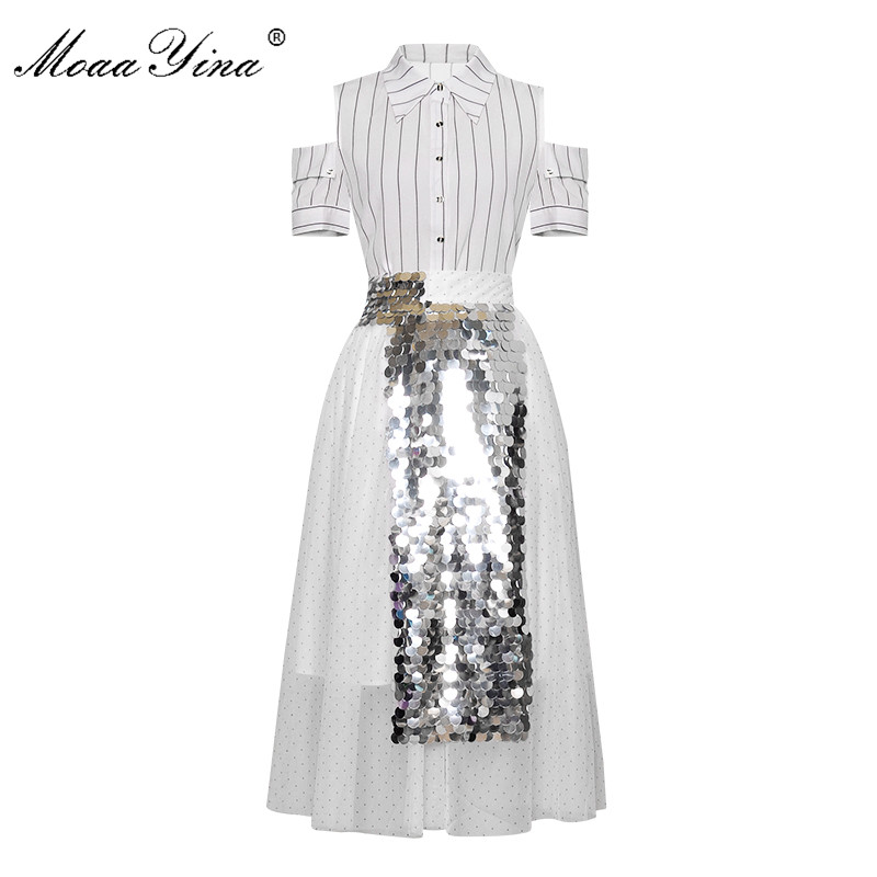 MoaaYina Fashion Designer Set Spring Summer Women Short Sleeve Stripe Shirt Tops+Mesh Sequin Skirt Two-piece Suit
