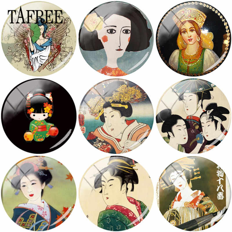 TAFREE Japanese Woman Geisha Art Clip Pictures 25mm Glass Cabochon Dome Flatback Scrapbooking Embellishment DIY Making Jewelry