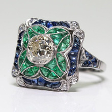 Vintage Green Stone Rings for Women Romantic Wedding Ring Silver Colors White CZ With Blue Cystal Luxury Jewelry Wholesale