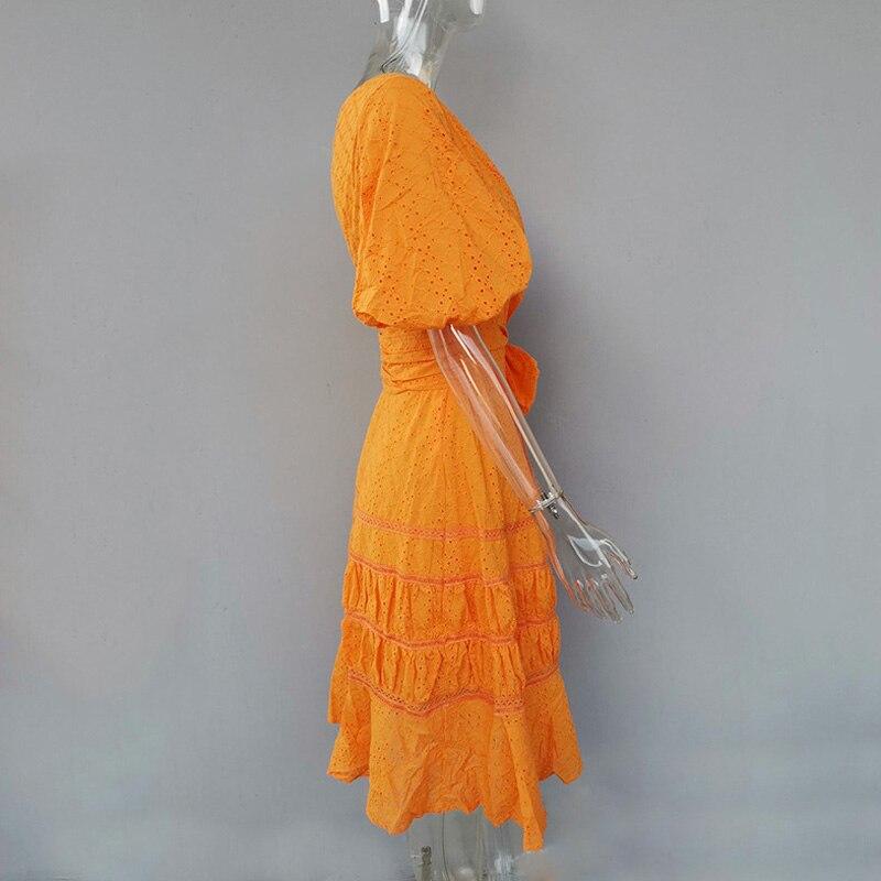 夏デザイナーの女性のエレガントなドレスハイウエストフリルオフワンショルダーアウト中空サッシドレスビーチパーティードレス Vestidos  グループ上の レディース衣服 からの ドレス の中 3