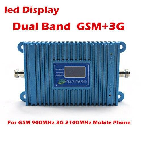 Lcd Dual Band 3 G GSM repetidor GSM 900 Mhz impulsionador + 3 G WCDMA 2100 Mhz repetidor de celular, 2000 metros quadrados de uso