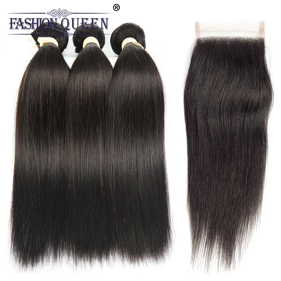 Fashion Queen Pre-colored 100% Human Hair Bundles With Closure Brazilian Hair Weaving Straight 3 Bundles With Lace Closure