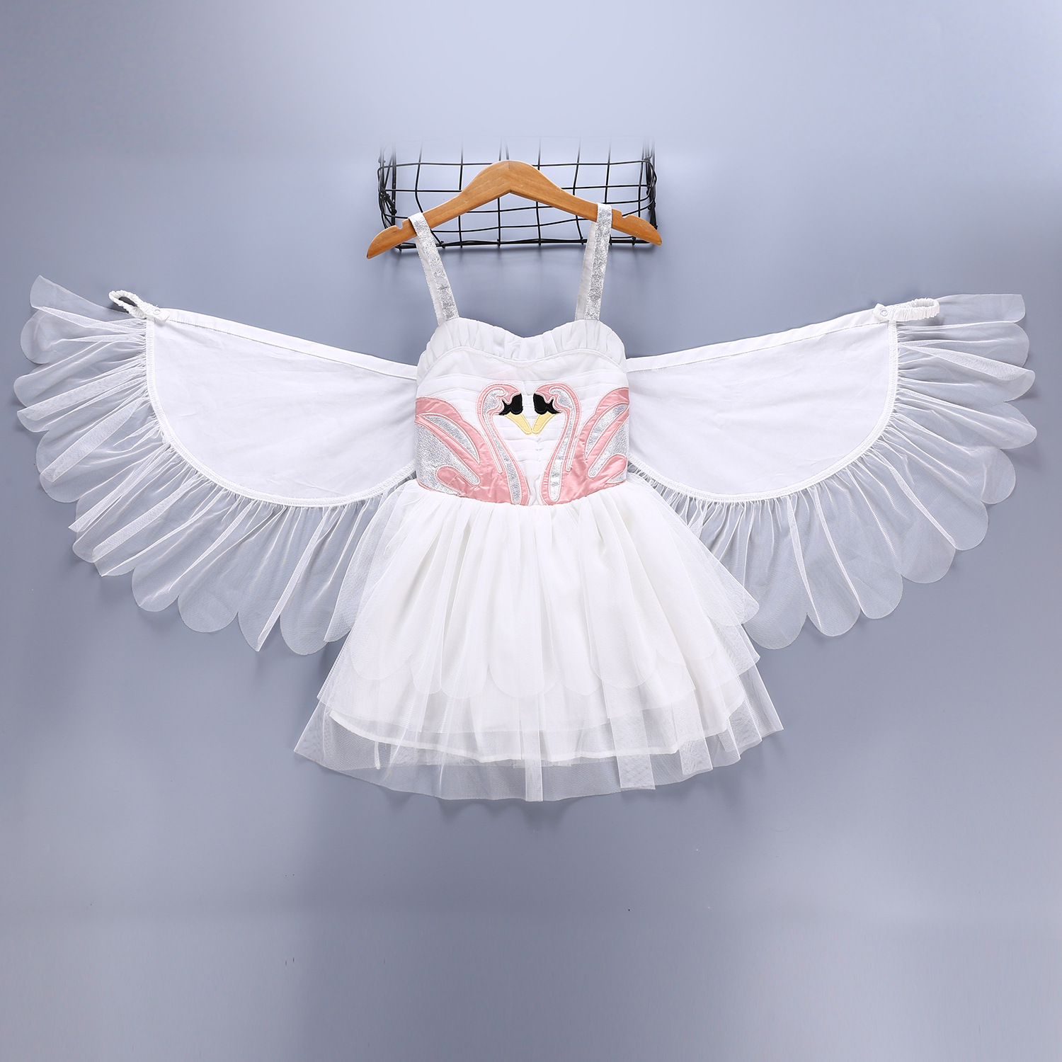 Flamingo Tutu Dress for Girls Dance Clothes Baby Kids Christmas Party Dresses Cartoon Removable Angel Wings Birthday Child Cloth