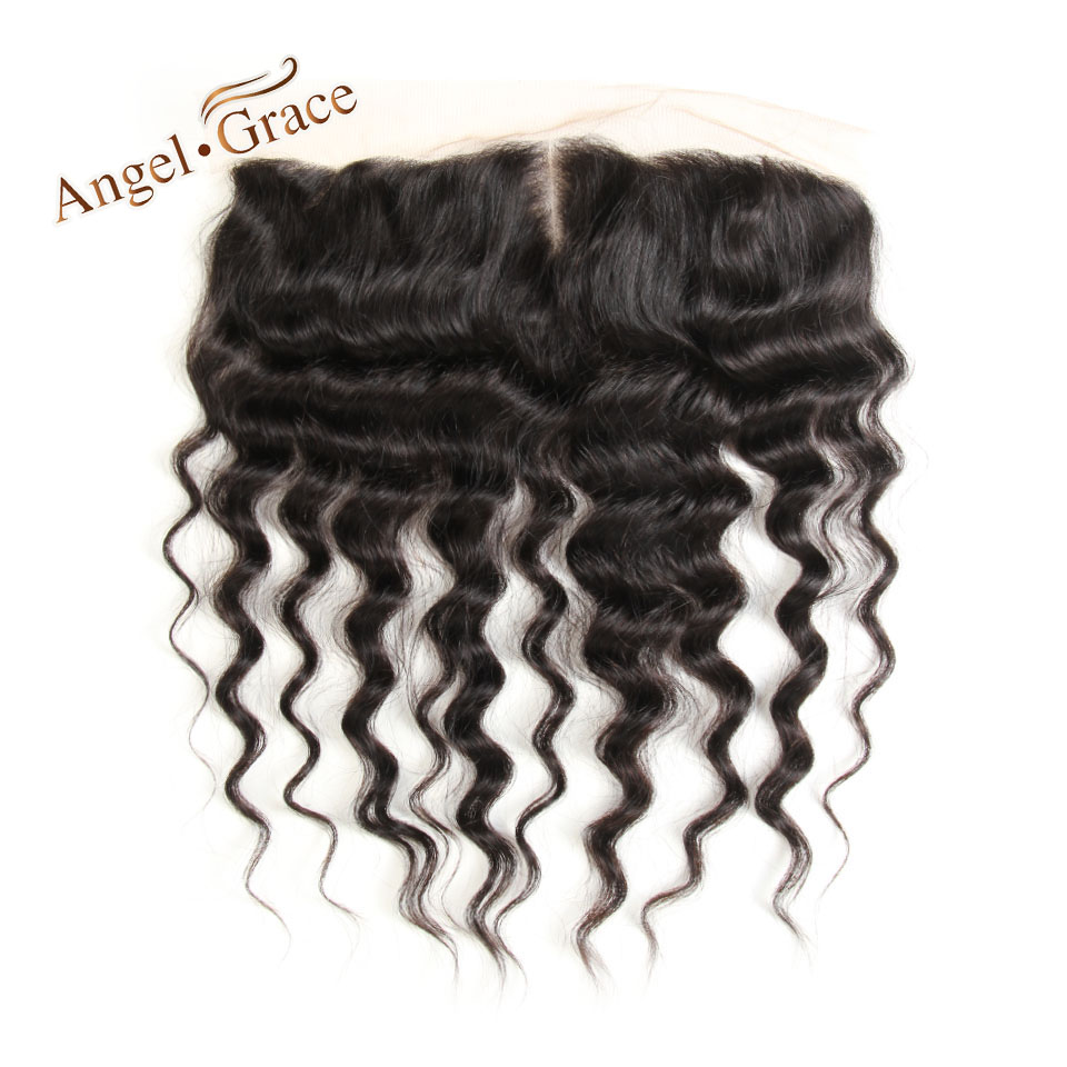 ANGEL GRACE HAIR Brazilian Real Human Hair Loose Wave 13X4 Lace Frontal Middle Part 10-20 Inch Natural Color Free Shipping