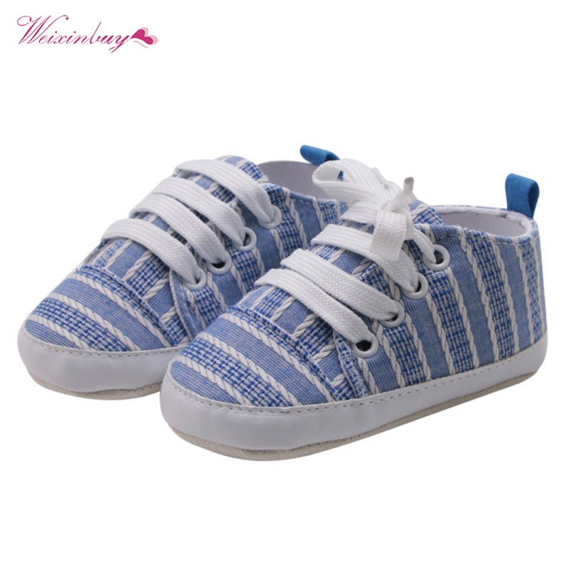 WEIXINBUY Baby Boys Girls Cross-tied Solid Shoes Cute Printing Soft Sole Anti-slip Fashi ...