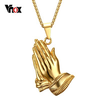 VNOX 18K Gold Plated Peace Sign Necklace Women Men Jewelry Stainless Steel Prayer Necklaces Pendants Free