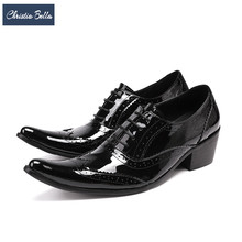 Christia Bella British Style Carved Men Wedding Dress Shoes Genuine Leather Oxfords Shoes Black Office Business Men Formal Shoes