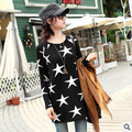 Женщины мода длинным рукавом футболки звезда печати хлопка майка осень зима дна рубашки