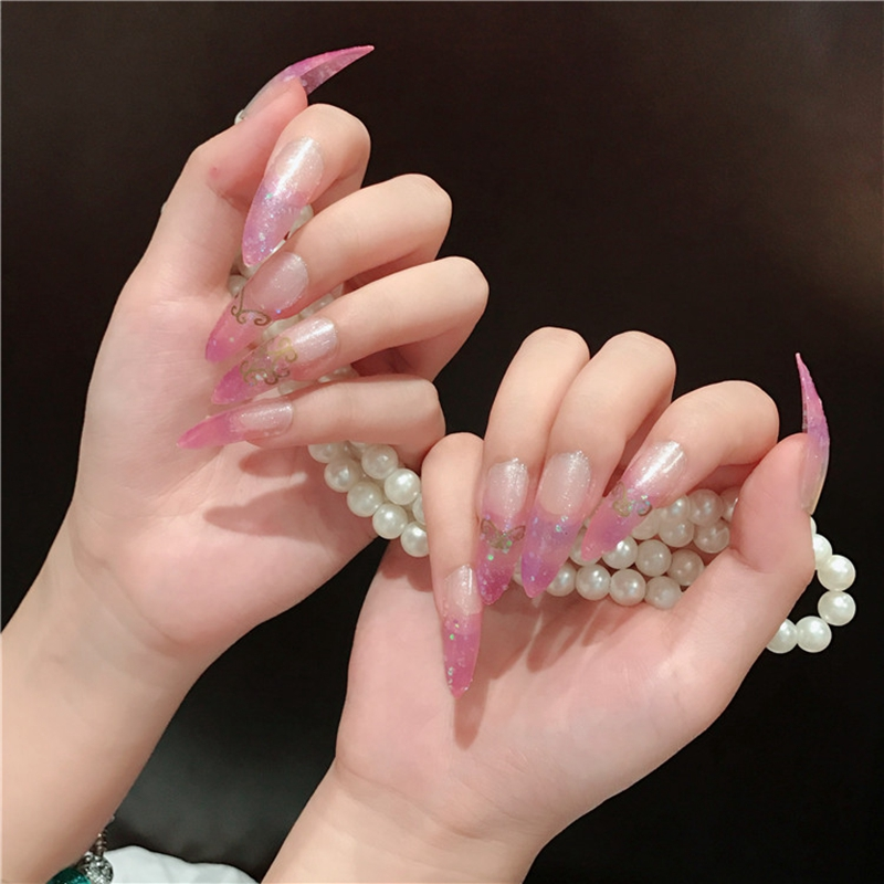 Online Shop Super Long Nail Tips Pointed Curve Fake Nails Light Purple Clear Glitter Lady Fashion DIY Manicure Tool Accessorries
