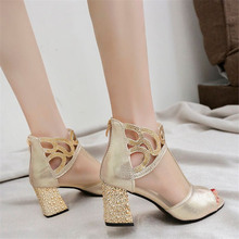 New fashion show Gold Mesh Net Cross Strap Sexy high heel sandals woman shoes pumps Hollow lace-up peep Toe Sandals
