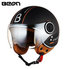 цена на BEON Motorcycle Helmet Chopper 3/4 Open Face Vintage Helmet Moto Casque Casco Capacete Motocross Helmet Scooter Motorbike Helmet