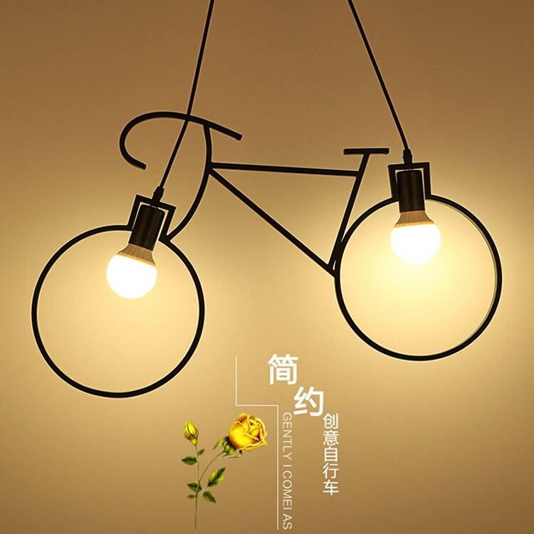 Creative personnalité vélo pendentif lumières art restaurant enfants chambre lampe caractéristiques corridor allée lampes d'éclairage en métal