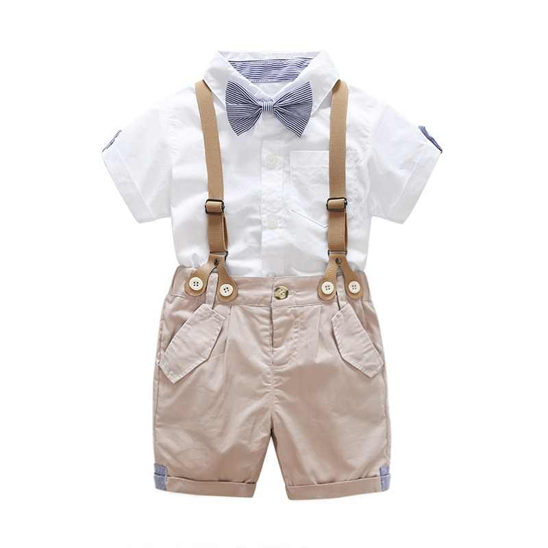 Top And Summer Toddler Baby Boys Clothing Sets Short Sleeve Bow Tie Shirt Suspenders