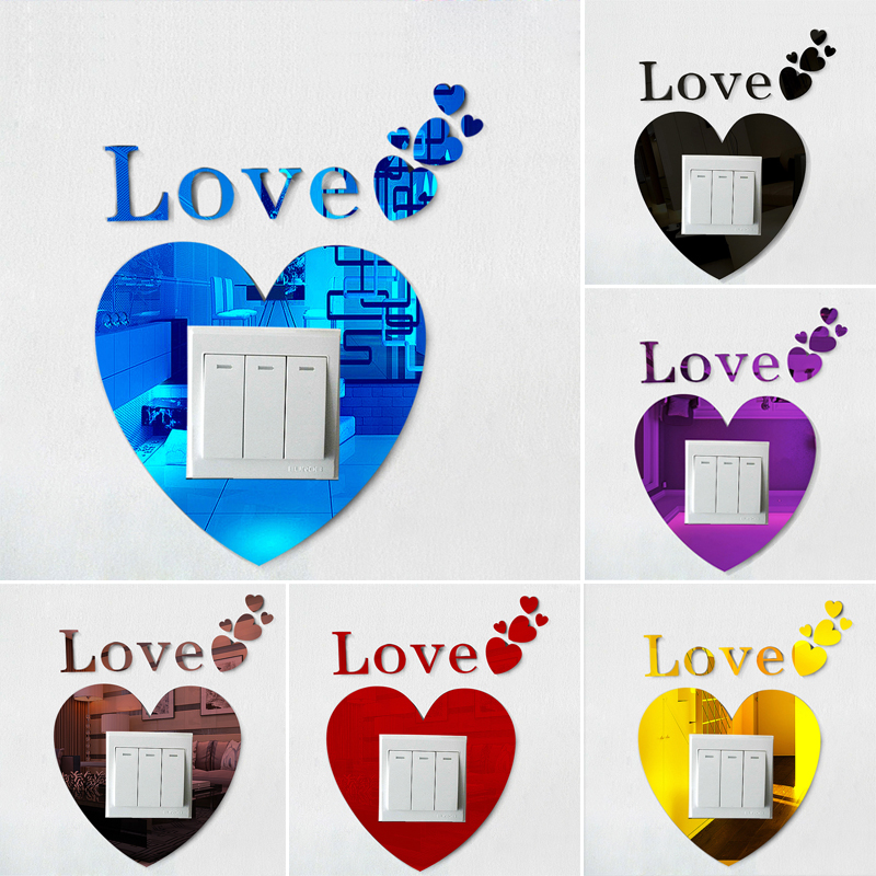 Self-adhesive Acrylic Love shape 3D switch sticker Eco Friendly Art Vinyl  Decal wall stickers