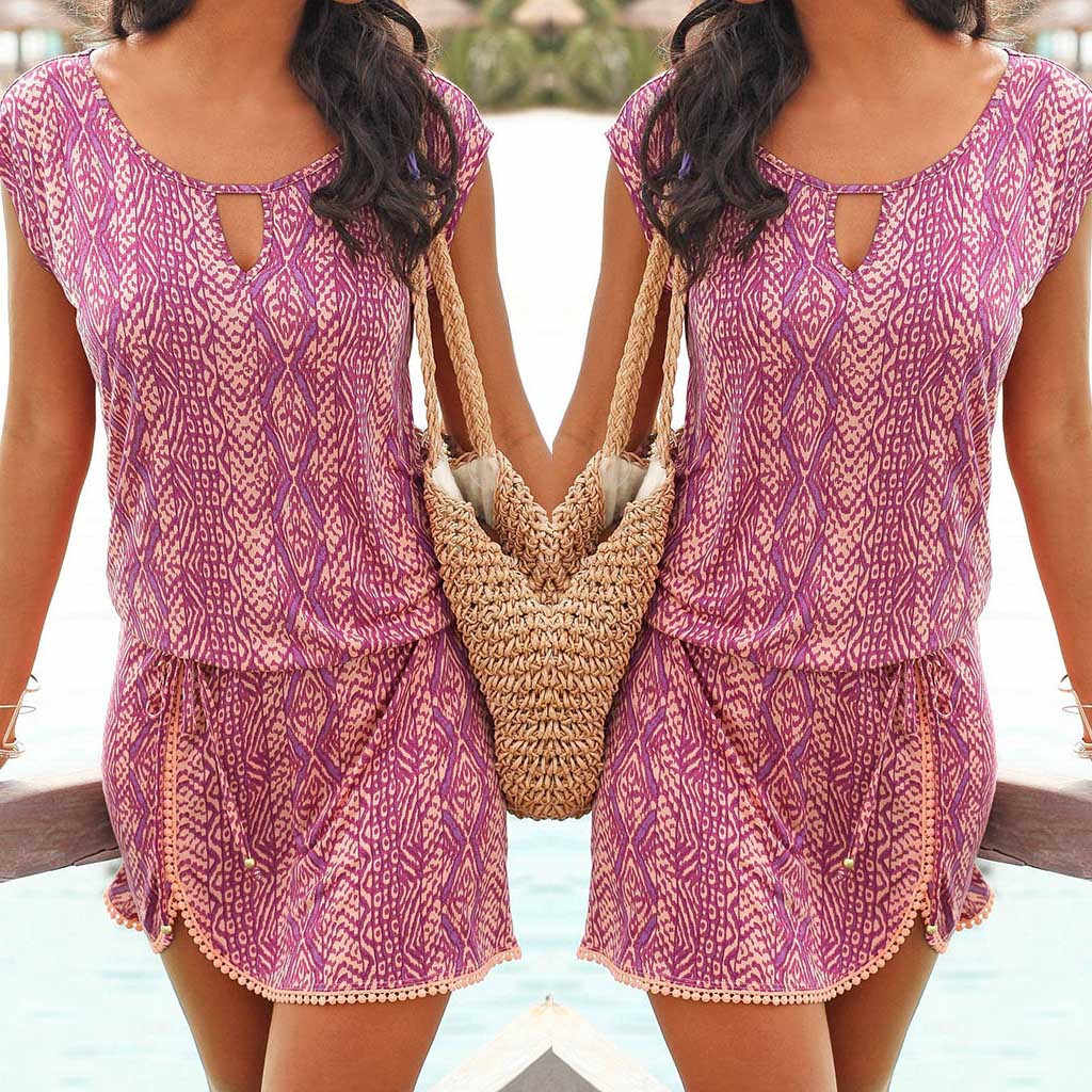セクシーなラウンドネック夏の服プリントエレガントなドレス半袖ドレス夏の女性ビーチ sukienka vestidos 32 # G6