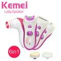 6in1 mulheres Depilador elétrico removedor de depilação depilatório depilação facial feminino lady shaver depilação bikini corpo KM-3066