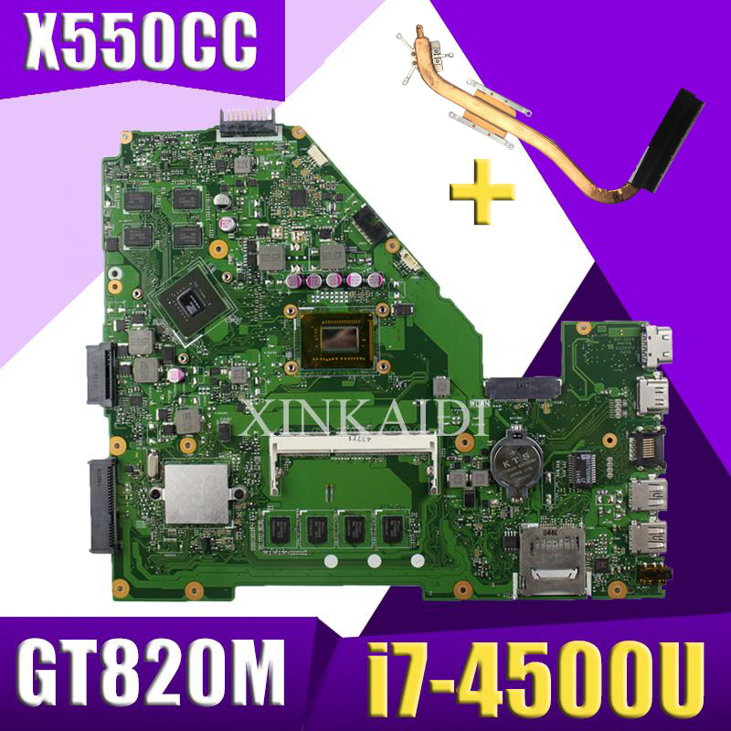 XinKaidi  X550CC Laptop motherboard for ASUS A550C X550CL R510C Test original mainboard 4G RAM i7-4500U 2.7 GHZ CPU GT820MXinKaidi  X550CC Laptop motherboard for ASUS A550C X550CL R510C Test original mainboard 4G RAM i7-4500U 2.7 GHZ CPU GT820M