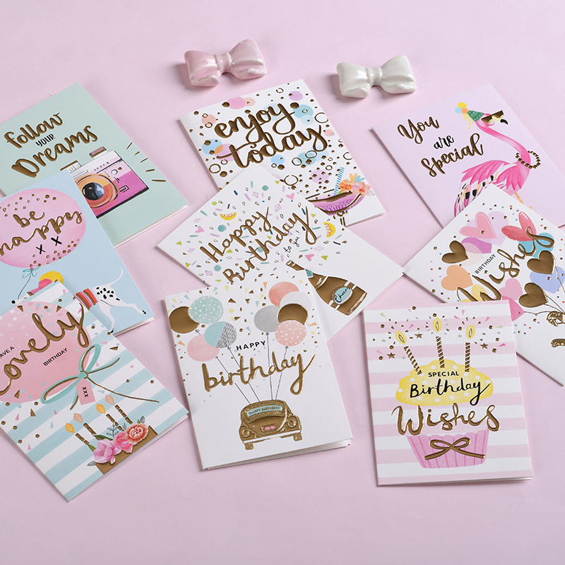Birthday Wishes Cards Kids Birthday Cards Glitter Foil Happy Birthday Cards Gift Label Cards image