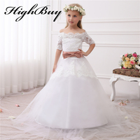 2016 New Hot White Ivory Lace Flower Girls Dresses With Belt Floor Length Girls First Communion