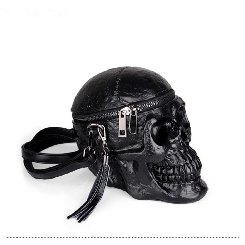 Originality Women Bag Funny Skeleton Head Black handbad Men Single Package Fashion Designer Satchel Package Skull