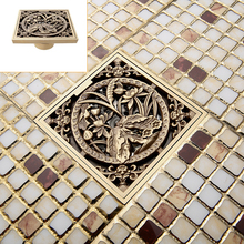 Free Shipping Wholesale And Retail Antique Brass Bathroom Floor Register  Drain Waste Grate 4 Inch