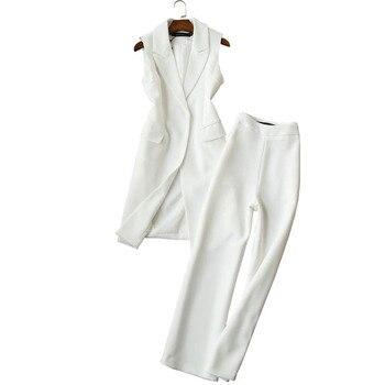Ladies vest suit spring and autumn new Korean two-piece long jacket wide leg pants nine women