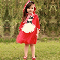 Fancy Gir Little Red Riding Hood Princess Cosplay Costume Tutu Baby Kids Dresses For Girls Clothes