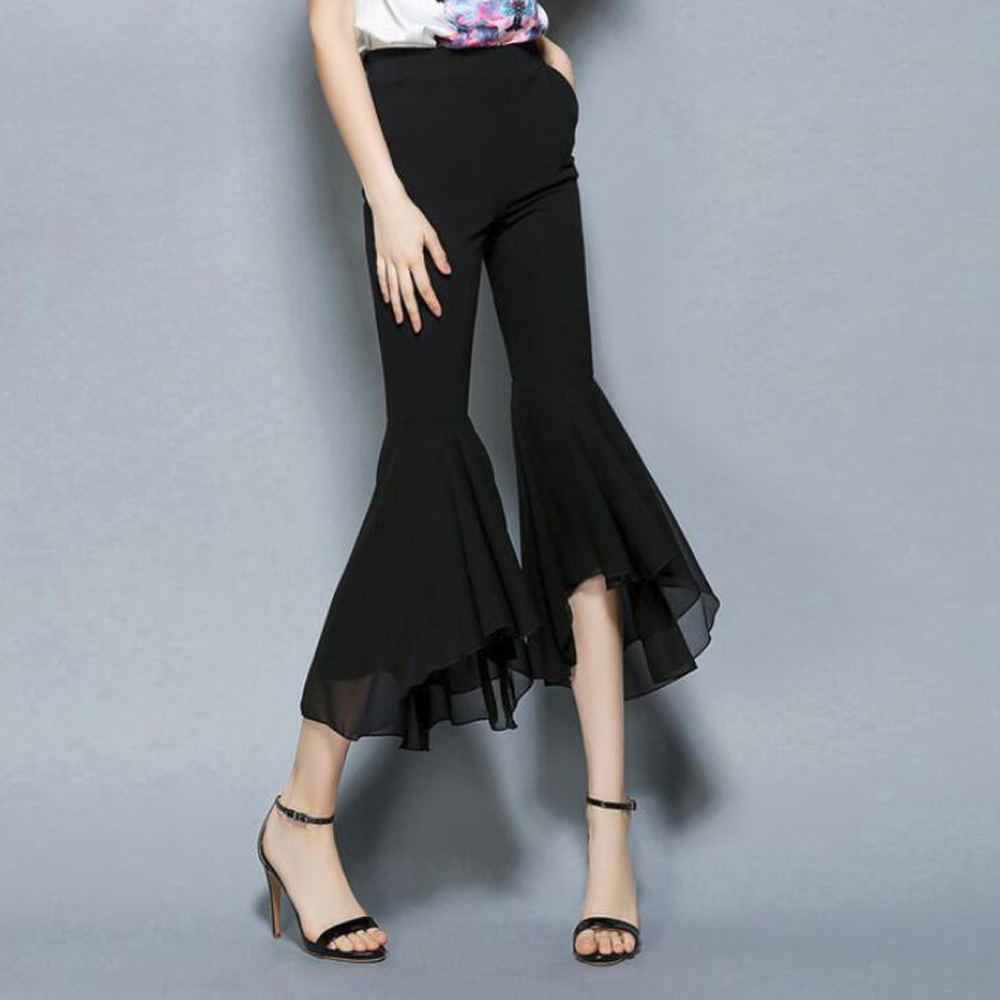 2019 Women Pants Fashion Office Ladies Summer Ruffle Pants High Waist Calf length Black Pant Casual Flared Trousers Pantalones
