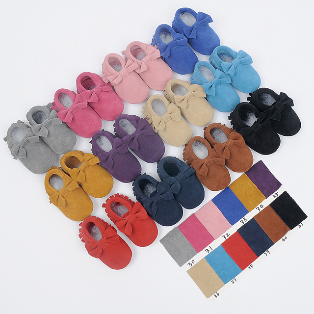 Suede First Walkers Genuine Leather Baby shoes Toddler baby moccasins Soft bottom newborn shoes fringe Infant Shoes