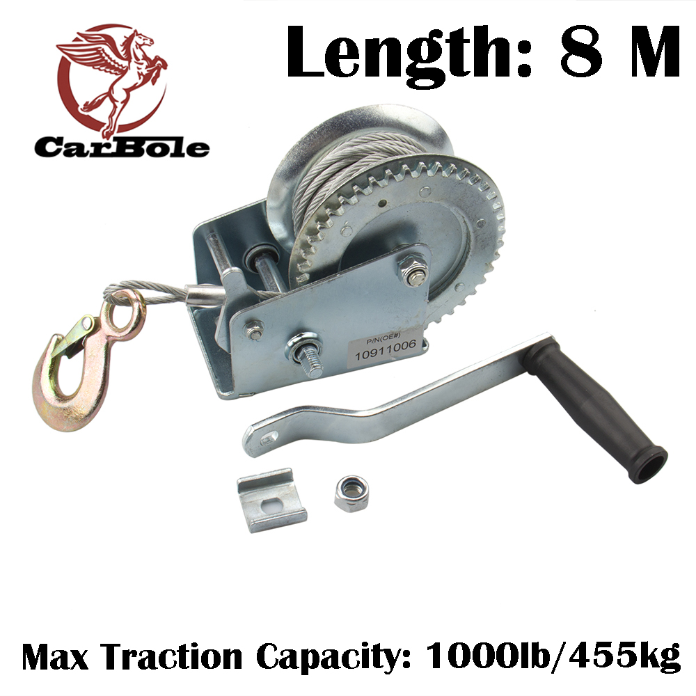 CARBOLE 1000 lbs Heavy Duty Hand Winch Hand Crank Strap Gear Winch Boat Trailer ATV New 8M