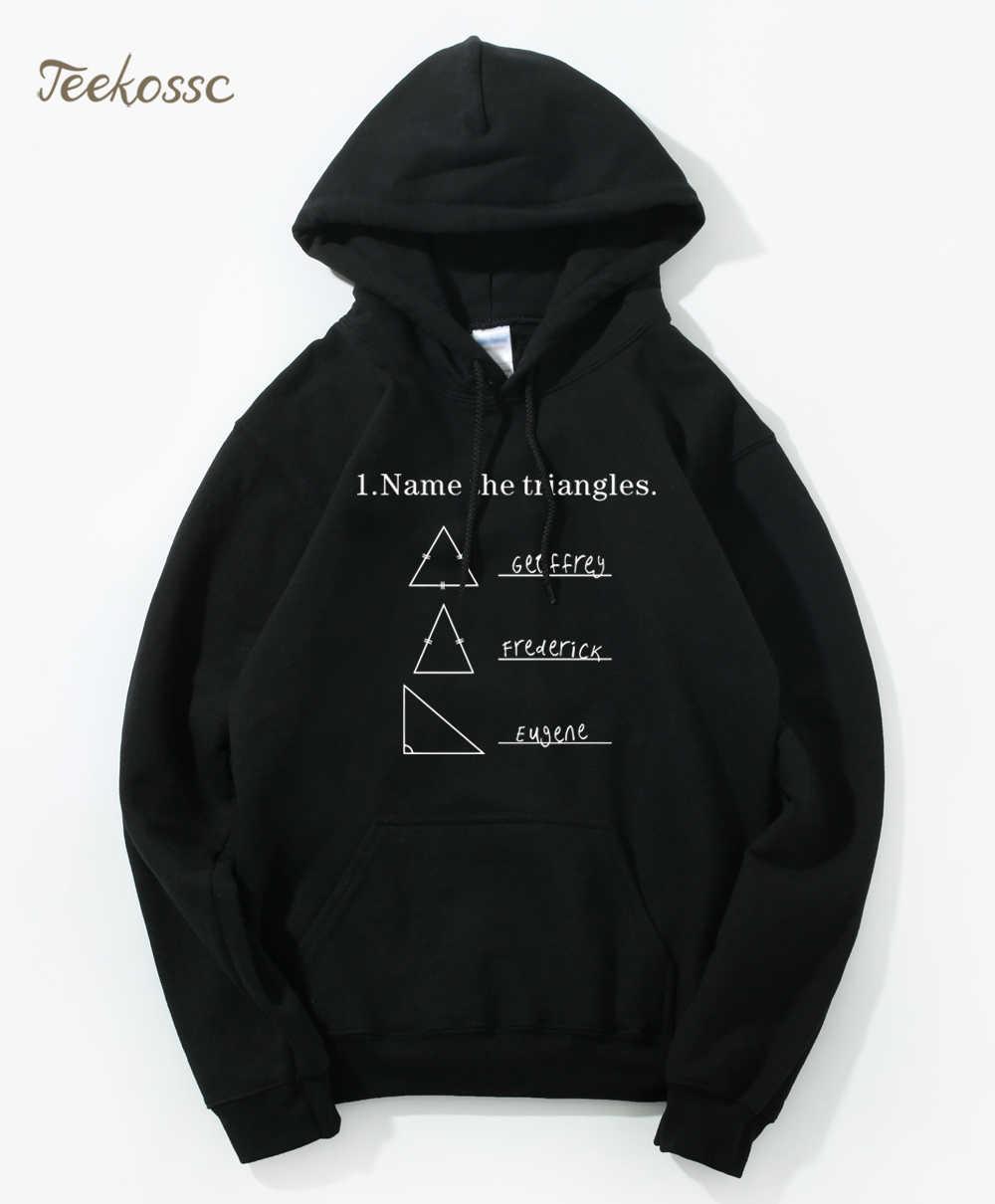 Nama Segitiga Lucu Hoodie Pria Sarkasme Baru I LOVE Math Hoody Geometri Hooded Sweatshirt Pria Fleece Hangat Guru Hadiah
