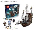 LEPIN 16002 Pirate Ship Metal Beard's Sea Cow Model Building Kits Minis  Blocks Bricks Toys Compatible With 70810