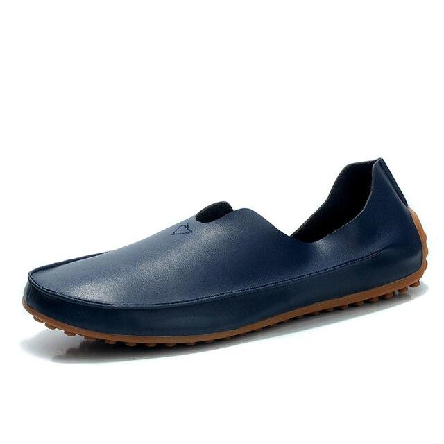 Zapatos Causales de verano Hombres Holgazanes de Los Hombres Mocasines De Cuero Genuino de la alta calidad del coche de Conducción slip-on Pisos plus size 36-47