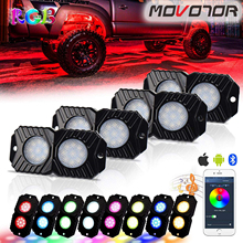 RGB LED Rock Lights, Multicolor Underglow Neon LED Light Kit 4 Pods Waterproof with Music Mode for Off Road Truck Car ATV