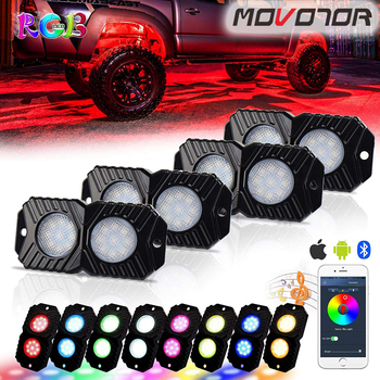 RGB LED Rock Lights, Multicolor Underglow Neon LED Light Kit 4 Pods Waterproof with Music Mode for JEEP Off Road Truck Car ATV