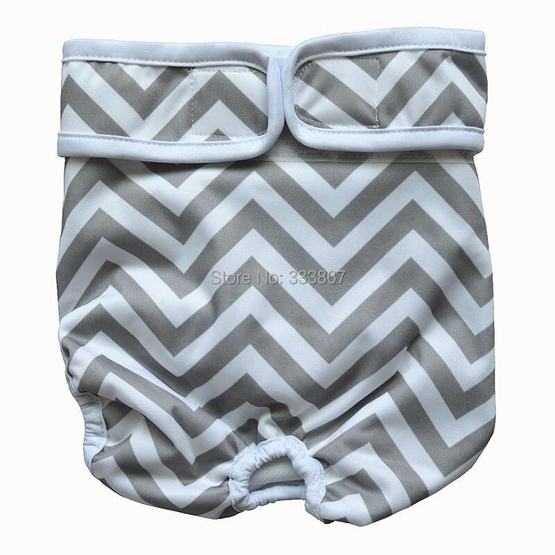 ... о 1 Многоразовые моющиеся собака пеленки прочный Собачка Щенок штаны  для домашних животных Обёрточная бумага для мужской женский, серый шеврон  зигзаг, ... 348297c26bf
